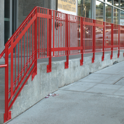 New Finishes Electrostatic Paint - Red Railing