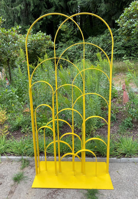 Powder coated Yellow Garden Sculpture by New Finishes